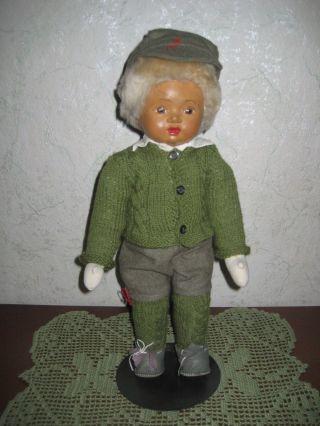 Dachbodenfund - Sehr Alte Puppe Mit Sehr Schöner Kleidung - 40 Cm Stoffkörper Bild