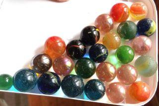 25 Alte Kleine Glasmurmeln,  Marbles,  Klicker Verschiedene Ausführungen Bild