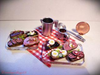 Belegte Brote Auf 2 Platten Mit Zubehör F.  Kaufladen Und Puppenhaus 1:12 Miniatur Bild