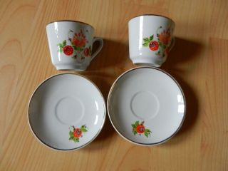 Puppenstube Kinder Geschirr Kaffeetassen Tasse 2 Stück Ca.  70er Jahre Porzellan Bild