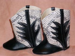 Puppen Schuhe Antik Stil Stiefel Blau Creme Croco Sohlenlänge 9 Cm Breite 4 Cm Bild