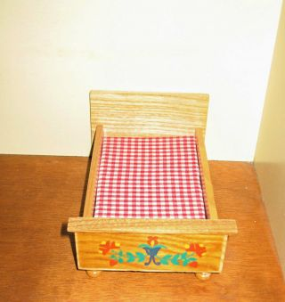 Bett Puppenbett Schlafzimmer Möbel Puppenstube Puppenhaus Puppenstubenmöbel Bild