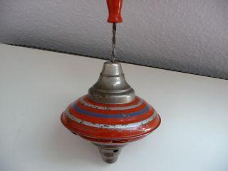 Antiker Blechkreisel,  Rotbunt,  25 Cm Bild