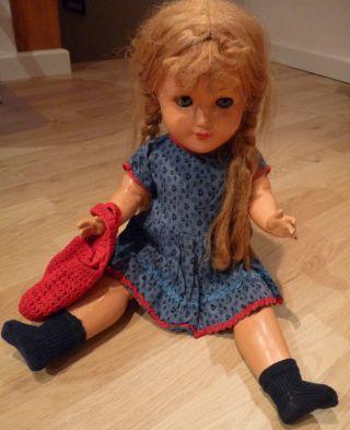 60 Jahre Alte Puppe - G.  W.  50 - Blonde Zöpfe - Mit Puppenkleider Und - Mantel Bild