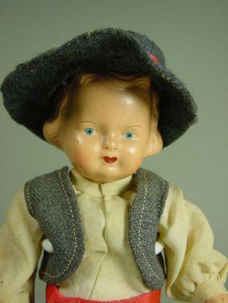 P770/ 192 Niedliche Alte Hermann Steiner Mädchen Puppe 21 Cm. Bild