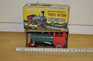 Vintage Marx Toys Locomotive Dampflok Battery Operated Japan Ovp Tricky Action Bild