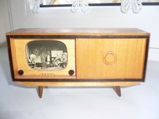 Alt Zubehör Puppenstuben Standfernseher Radio - & Musikschrank 1960/70 Bild