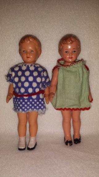 1.  Zwei Alte SchildkrÖt Celluloid - Puppen FÜr Puppenstube,  Gr.  :13 Cm,  Gemarkt Bild