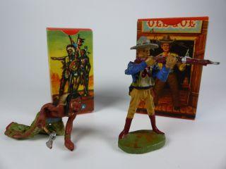 Hausser Elastolin Cowboy Und Indianer Masse 1950er Jahre - Nos Bild