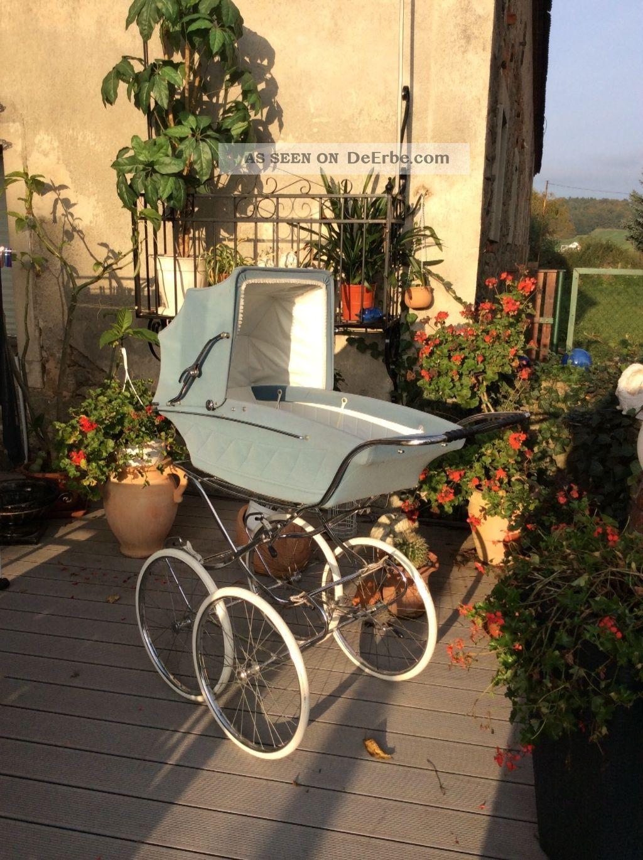 kinderwagen nostalgisch selten mit gro en r dern hellblau f baby o dekoration. Black Bedroom Furniture Sets. Home Design Ideas