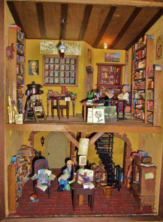 Miniatur Bibliothek Antiquariat Mit Keller Bücher Puppenstube Dollhouse 1:24 Bild