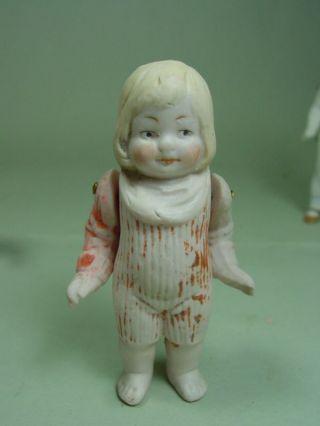 P396/ Porzellan Puppenstuben Puppe 8,  5 Cm Mädchen Ca.  1915 Bild
