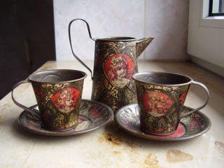 Antike Puppen Stuben Möbel 1880 Gründerzeit Buffet Besteck Tasse Kanne Aus Blech Bild