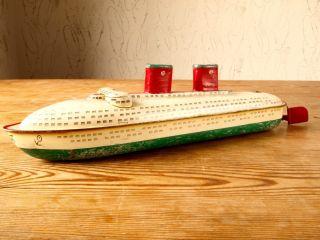 Arnold Ozeandampfer 26 Cm Mit Uhrwerk 50er Jahre Blechspielzeug Schiff Bild