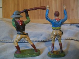 Elastolin Massefiguren - 2 Cowboys - Originale Nach 1945 Bild