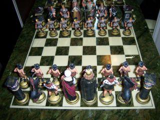 Schach Spiel Onyx Brett Zinn Blei Figuren 10cm Handarbeit Unikat Römer Germanen Bild