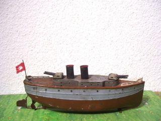 Blechschiff Boot Kriegsschiff Mit Uhrwerk Von Bing Bub Fleischmann MÄrklin Bild