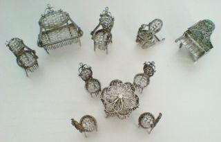 Biedermeier Puppenstuben MÖbel Garnitur Aus Filigran Silber Um 1840 Bild