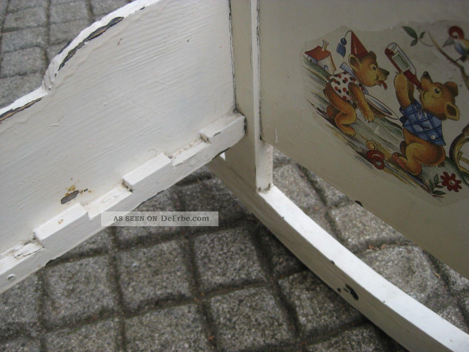 puppenwiege puppenbett l b h 44 21 20cm bett f puppe masiv holz alt antik 1900. Black Bedroom Furniture Sets. Home Design Ideas