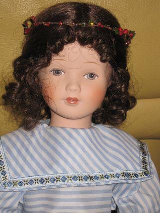 WunderschÖne Porzellan - Kopf - Puppe 50 Cm - Mit Feinem Kleid Und Liebem Gesicht Bild