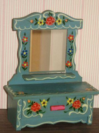 Spiegelkommode Schrank Holz Bauernmöbel Puppenhaus Puppenstube Möbel Dora Kuhn Bild