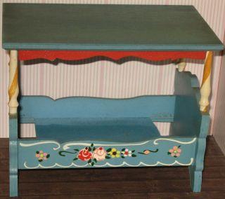 Bett Holz Bauernmöbel Puppenhaus Puppenstube Himmelbett Möbel Dora Kuhn Bild