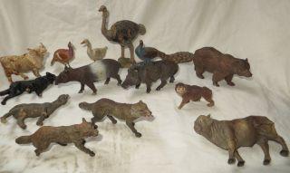 Dachbodenfund_14 Uralte Elastolin Tiere Masse_wolf_pfau_strauß_tapir_bär_affe Ua Bild