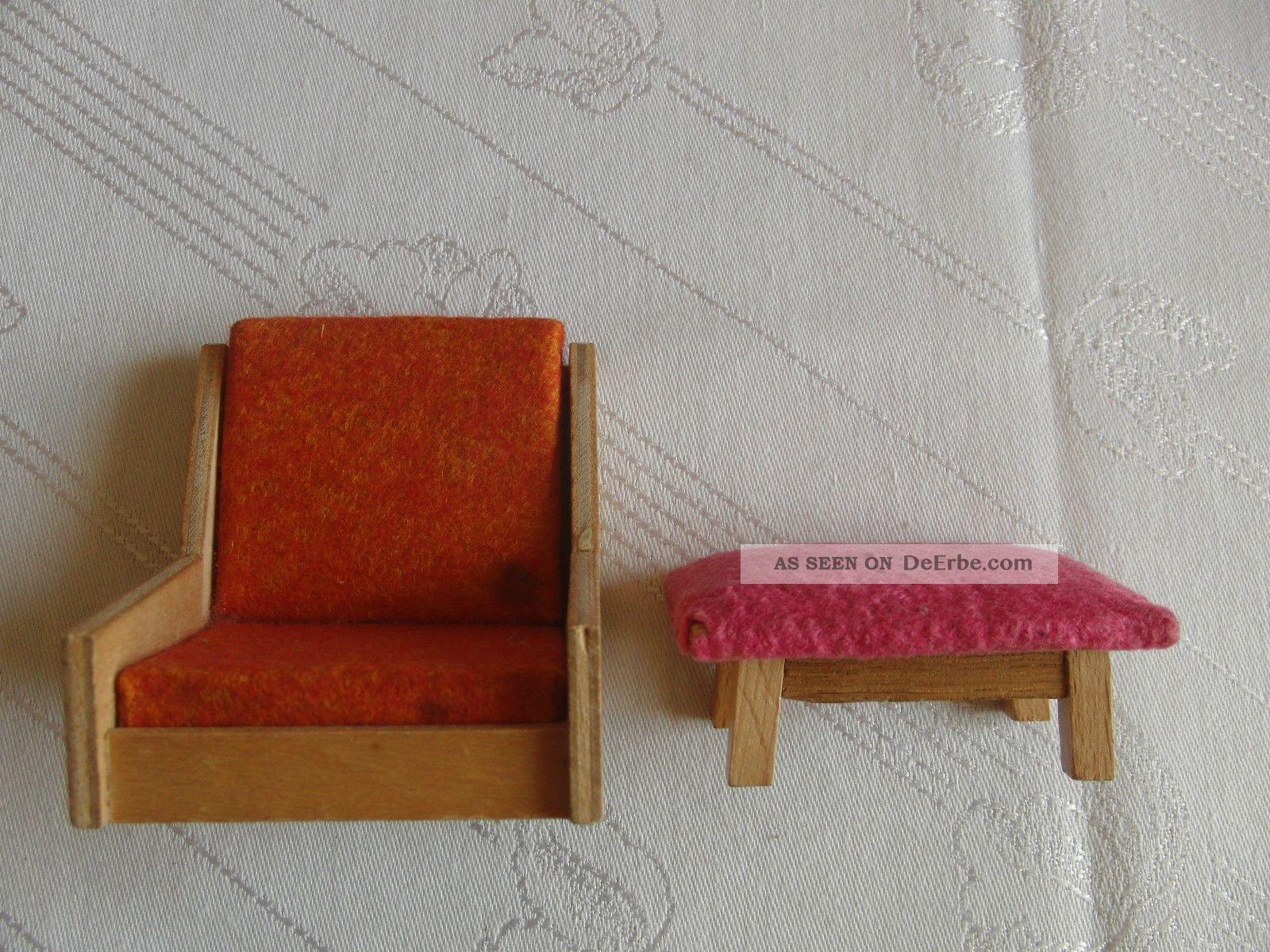 puppenmutti puppenstube m bel wohnzimmer holz filz hocker sessel 50iger 60iger. Black Bedroom Furniture Sets. Home Design Ideas