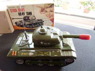 Nomura Toys Stick Shift Army Tank Panzer 1960´s In Ovp.  SammelstÜck Bild