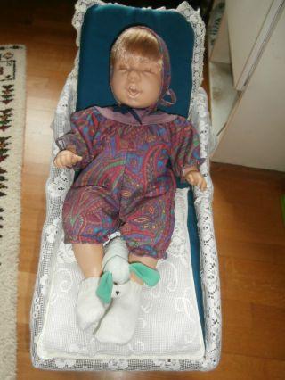 Deko Nostalgie Puppenwagen Korbpuppenwagen Mit Puppe Bild