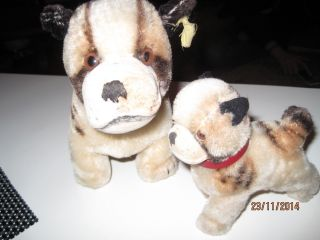 2 X Steiff Hund Bully,  Mohair,  1317/00,  1959 - 1967,  11cm Und 17 Cm Bild