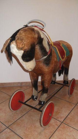 Steiff Pferd Antik Auf Rädern Mit Stimme Bild