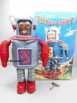 Blechroboter Astro Scout 22 Cm.  Ovp Roboter Aus Blech Blechspielzeug Ms 399 Bild