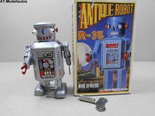 Blechroboter Robot R - 35 8,  5 Cm Ovp Roboter Aus Blech Blechspielzeug 1984 Bild
