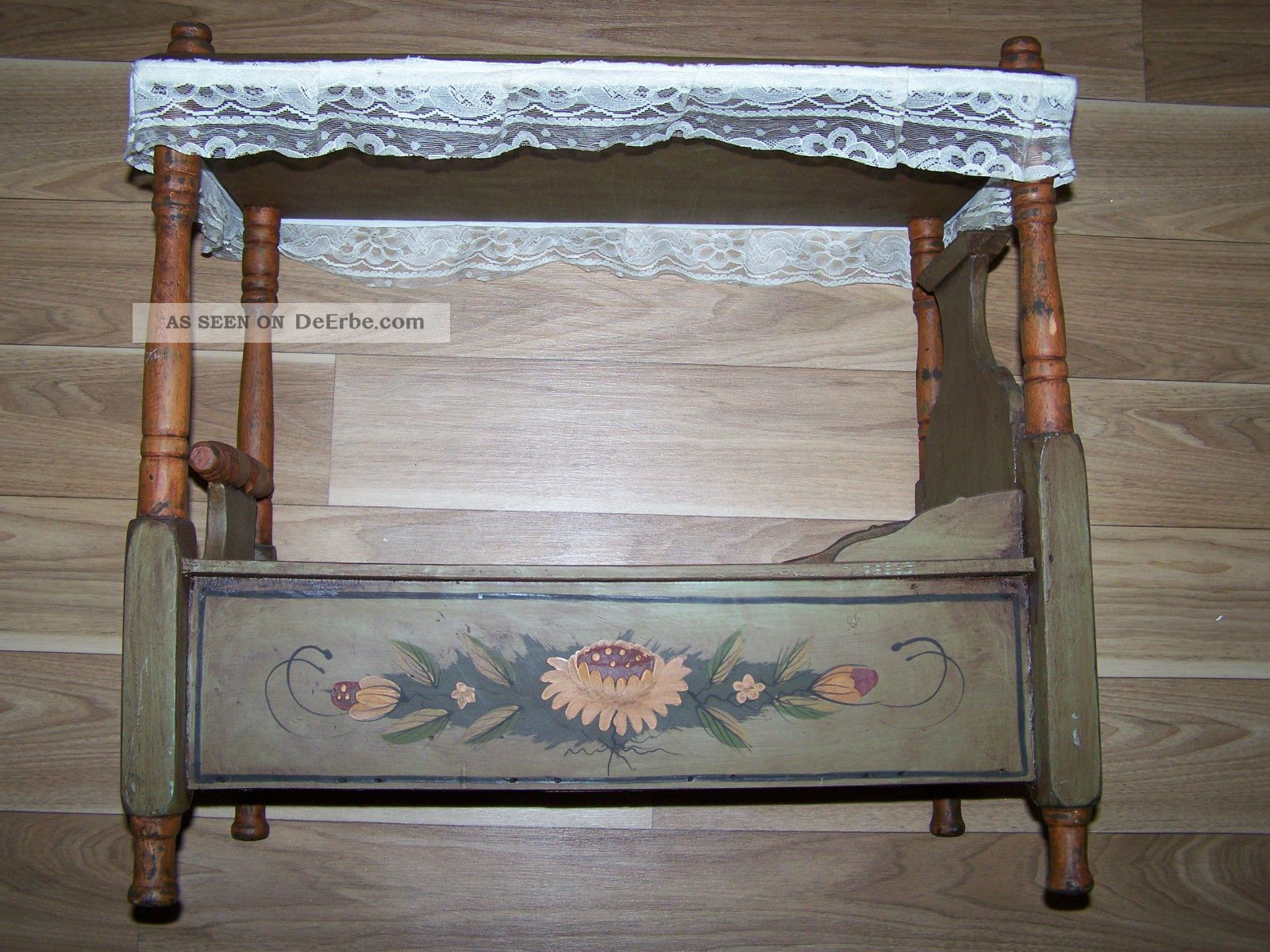 Puppenbett Etagenbett Holz : Altes puppenbett hochbett aus holz mit bauermalerei