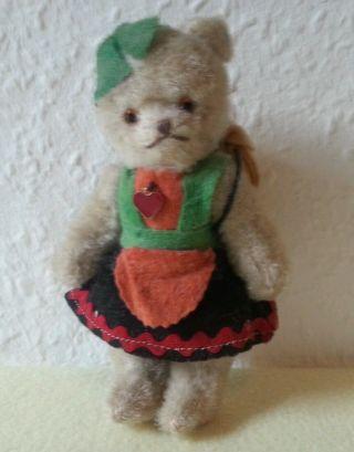 Teddy Bär Mit Kleidung,  Von Berg,  Glas Augen,  Tiroler,  Miniatur Teddy Bild