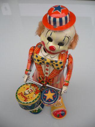 T.  K.  Toys Japan (fossil) Clown Als Trommler,  Rarität Bild