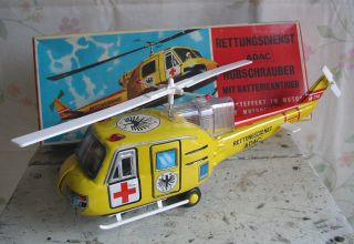 T.  N Nomura Japan Adac Hubschrauber Vintage Battery Tin Toy Helicopter & Box 60s Bild