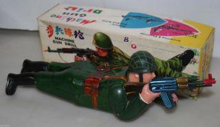 Blechspielzeug Machine Gun Drill China Me 644 70 Ovp Soldat Vintage Militär Bild