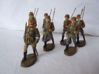 Lineol Elastolin 7 Deutsche Soldaten Und 1 Offizier In Marsch Von Elastolin Top Bild