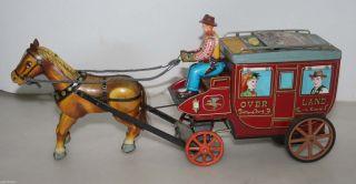 Ichida Cragstan Overland Stagecoach Kutsche Tin Toy Blechkutsche Blechspielzeug Bild