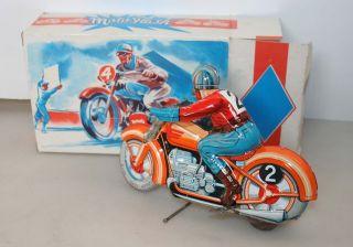 Technofix Motorrad Ge 255 Mit Uhrwerk Made In France Ovp Blechspielzeug Tin Toy Bild
