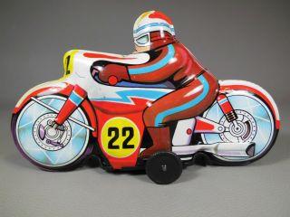 Altes Motorrad Blechspielzeug Juguetes Roman Made In Spain Bike Blech Tin Toys Bild