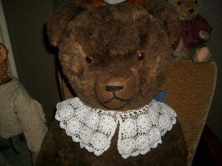 Riesiger,  Dunkelbrauner 103 Cm Großer,  Alter Teddybär - Altersgemäß Sehr Schön Bild