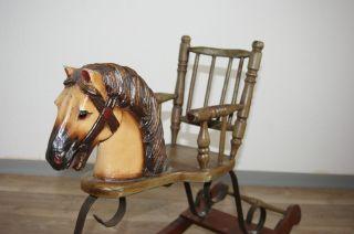 Puppenschaukelpferd Alt 80cm Schaukelpferd Holzpferd Bild
