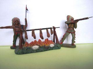 2 Elastolin Masse Indianer Mit Feuerstelle,  Serie 7 Cm. Bild