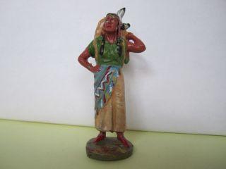 Elastolin Masse Indianerin Mit Kind Auf Dem Rücken,  7 Cm. Bild