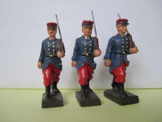 3 Masse Soldaten,  Franzosen Aus Dem 70/71er Krieg,  Lineol,  7 Cm. Bild
