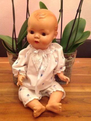 Schöne,  Alte Minerva Puppe Baby 40 - 50er Jahre? 48 Cm,  Vitrinenpuppe Bild