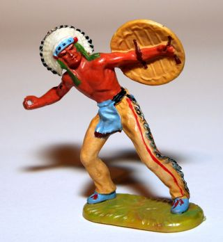 Elastolin Figur Häuptling Speer Werfend Art.  6822 In Bemalung 2 Bild